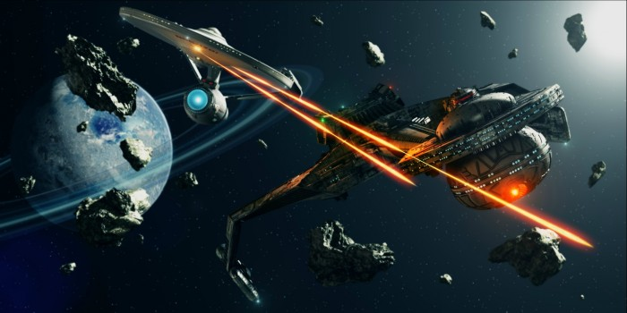 The Enterprise fights some klingons 700x350 The Enterprise fights some klingons