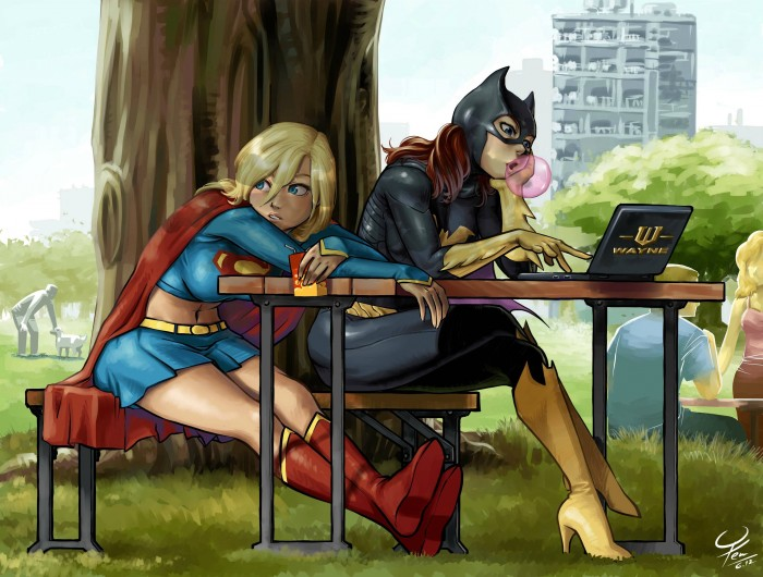 Bored supergirl with batgirl.jpg