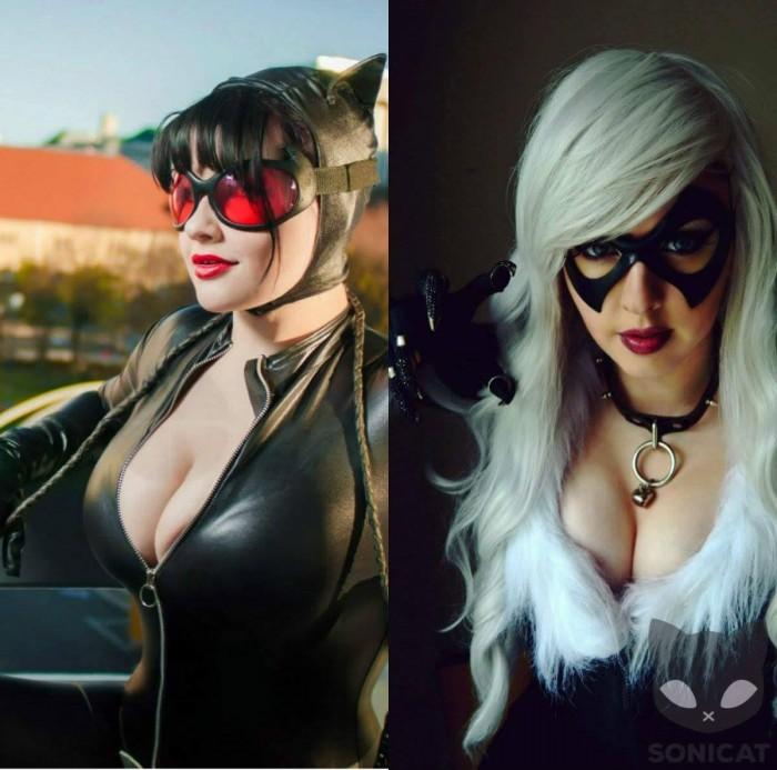Catwoman v Black Cat by SoniCat  700x693 Catwoman v Black Cat by SoniCat  Wallpaper Sexy NeSFW Comic Books catwoman Black Cat