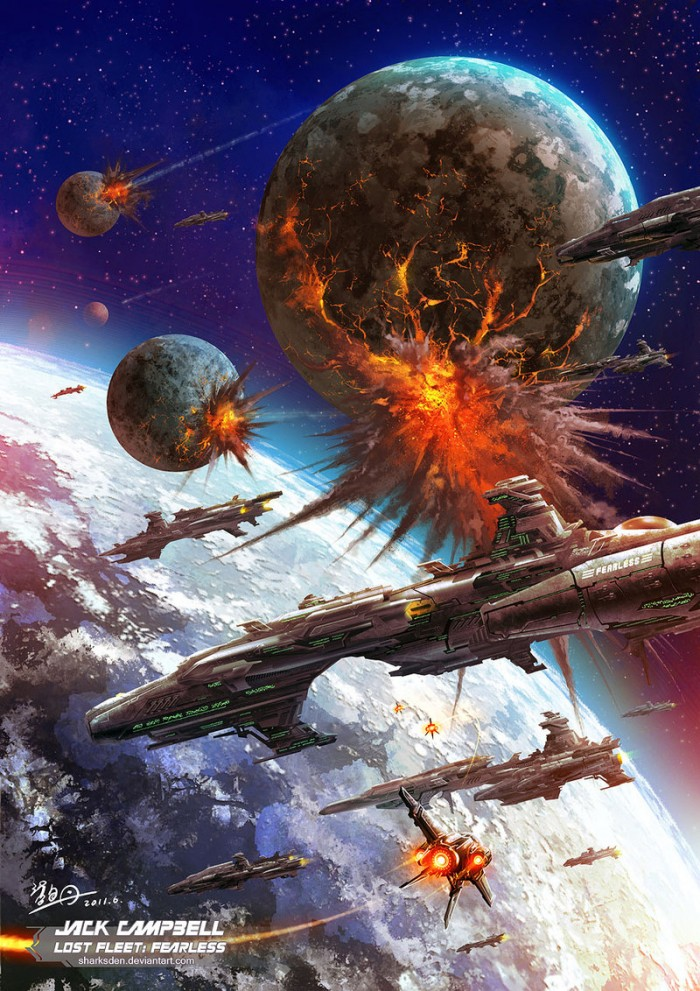 The Alliance Fleet under Black Jack Geary - Bombarding the Syndic planet of Sutrah.jpg