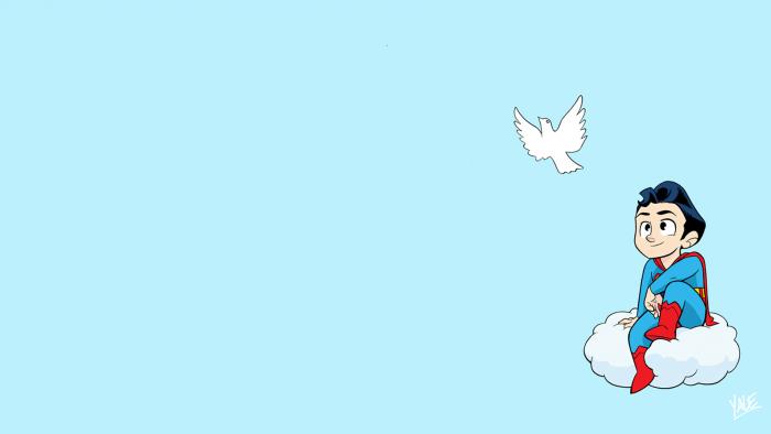 Chibi Superman and bird.png