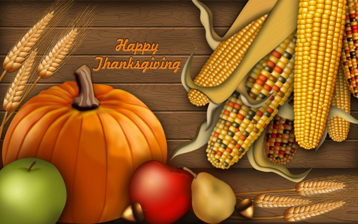 Happy Thanksgiving Wallpaper - food and acorn and wheat.jpg