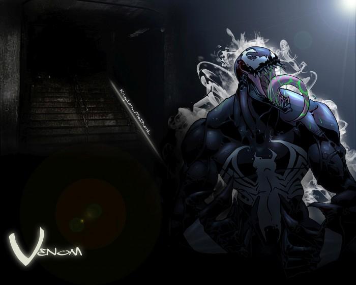 Venom has green goop in his mouth.jpg
