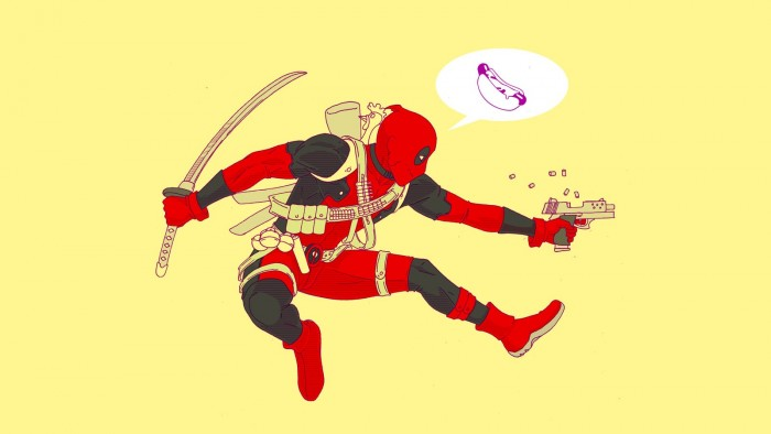 Deadpool shooting and talking about hot dogs.jpg