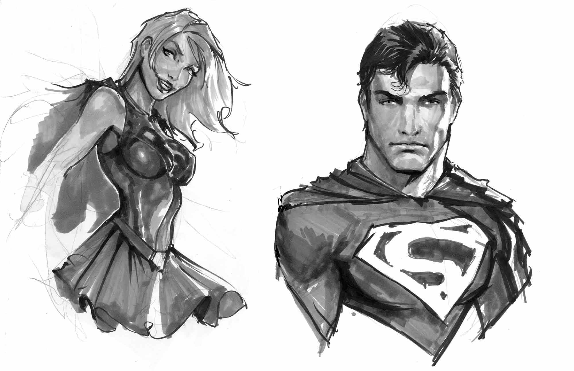 Superman and supergirl Sketches.jpg