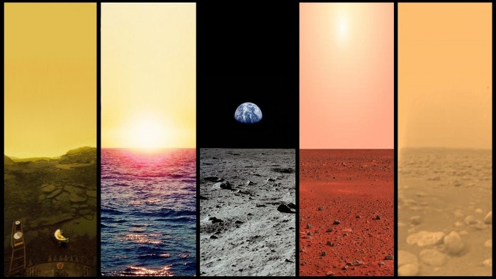 Venus, Earth, Moon, Mars, Titan
