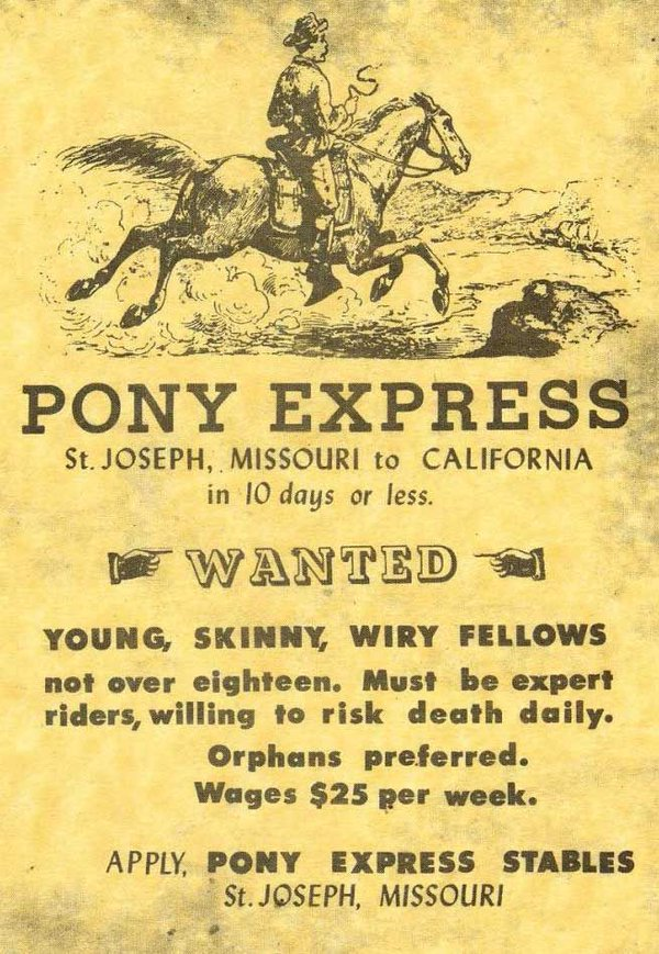 pony express help wanted pony express   help wanted wtf Advertisements