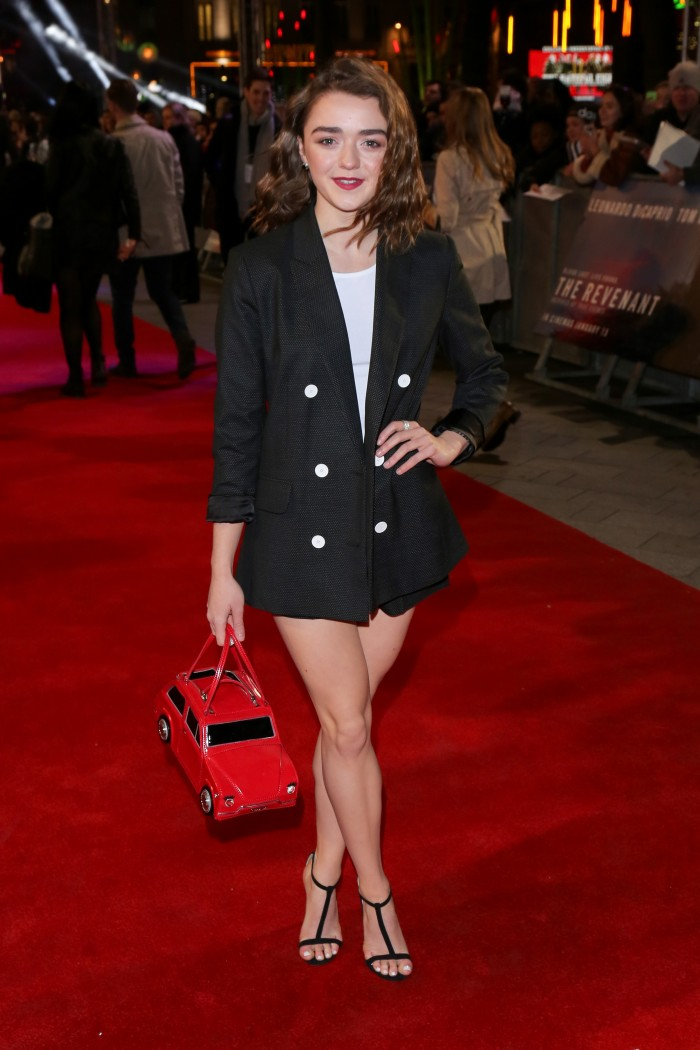 Maisie Williams with a fire truck bag.jpg