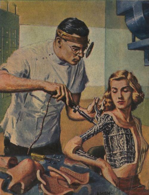 Robot Woman Vintage Future Retro Futurism. Imgur Tune up vintage illustration fantasty   science fiction Art