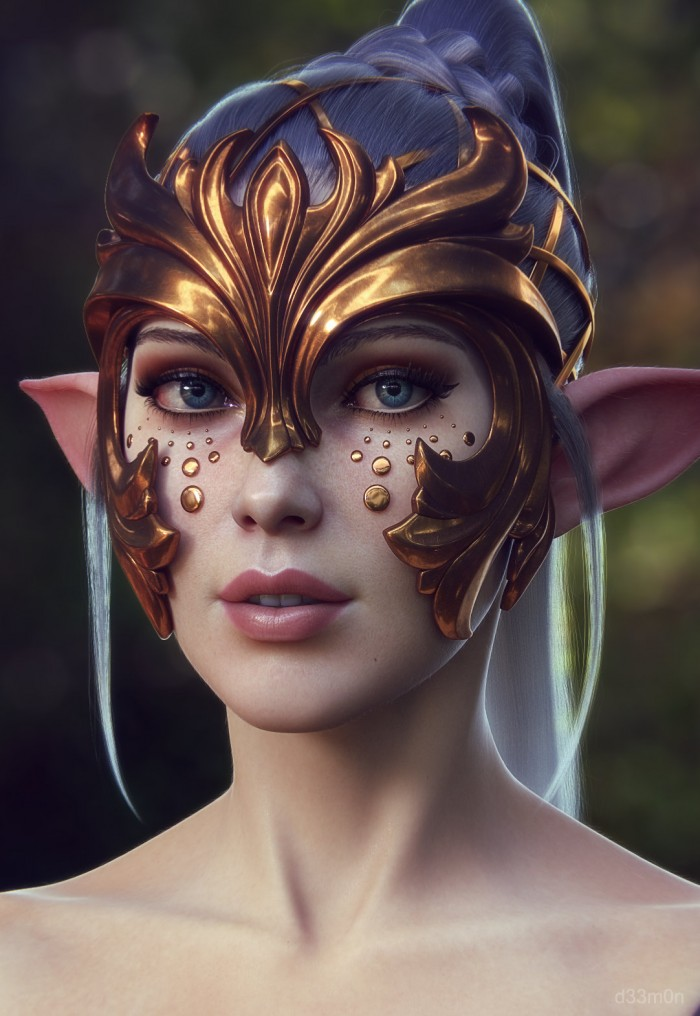 elf mask with ears vertical wallpaper Sexy Fantasy   Science Fiction
