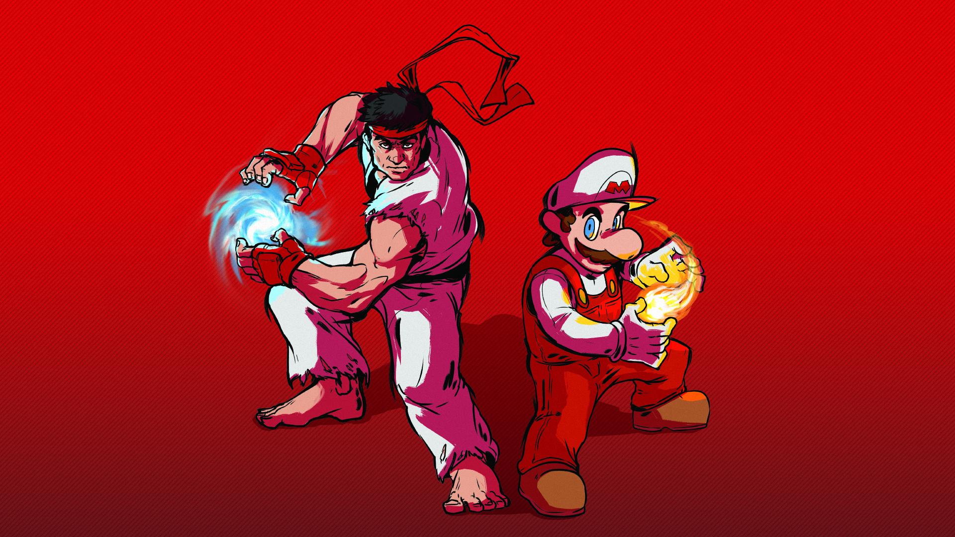 Mario and Ryu – fire power.jpg