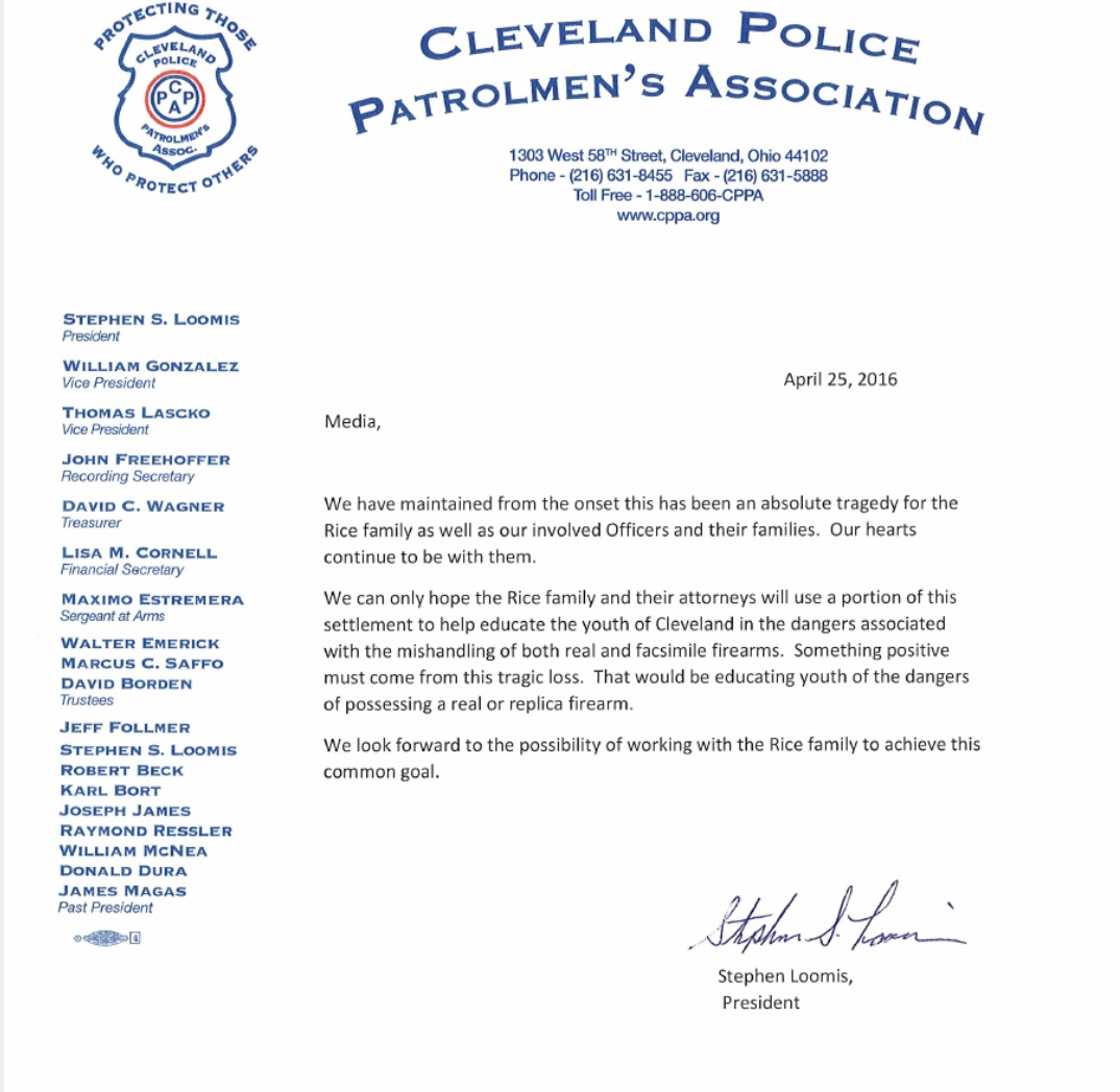Screen Shot 2016 04 25 at 5.07.20 PM The Cleveland Police Patrolmen's Association The Intercept The Cleveland Police Patrolmen's Association Tamir Rice
