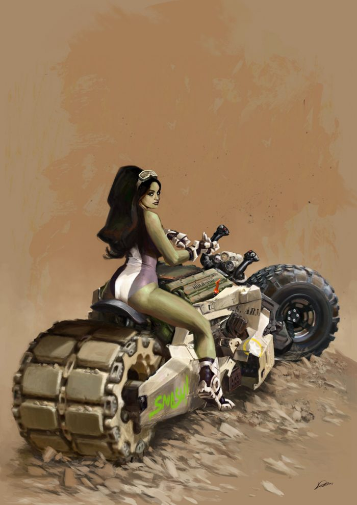 she hulk on a tracked duel tire motorcycle.jpg