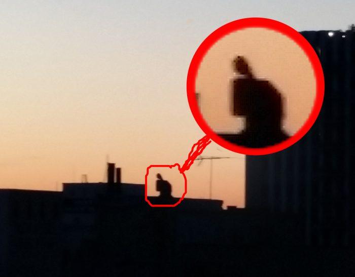 Creepy Rooftop Statue