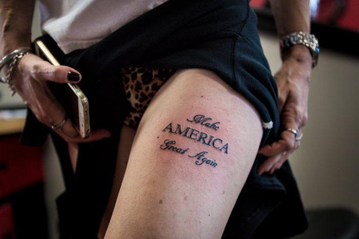 MAGA Leg Tattoo 700x467 MAGA Leg Tattoo wtf Tattoos MAGA election 2016 donald trump