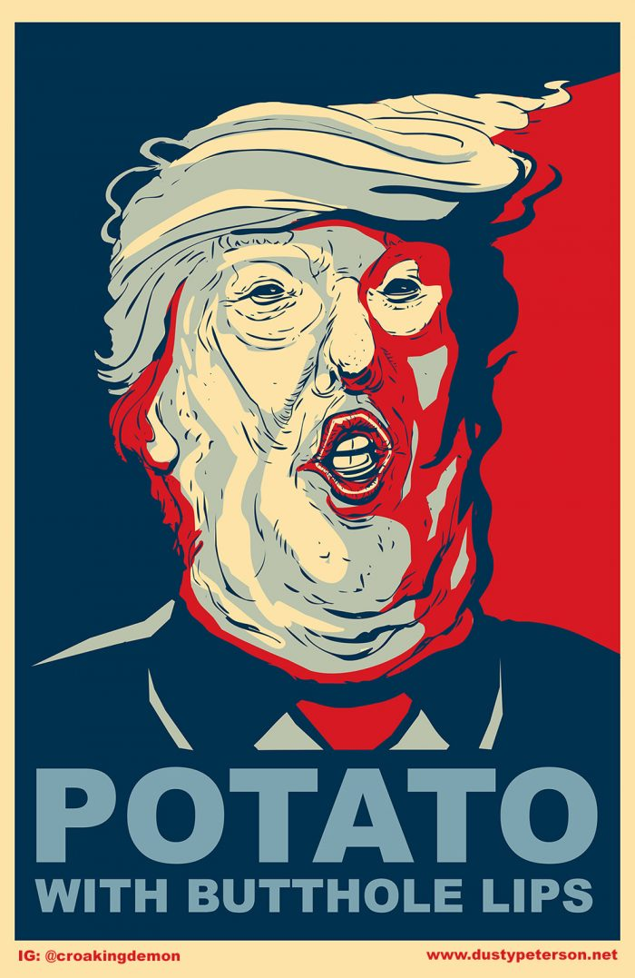 Potato with butthole lips 700x1077 Donald Trump is a Potato With Butthole Lips Humor donald trump