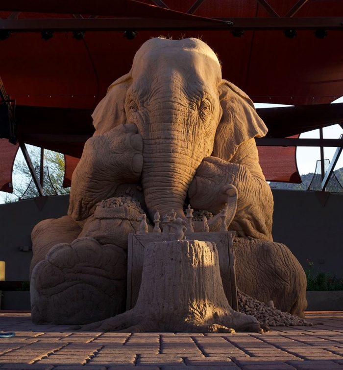 elephant sand art