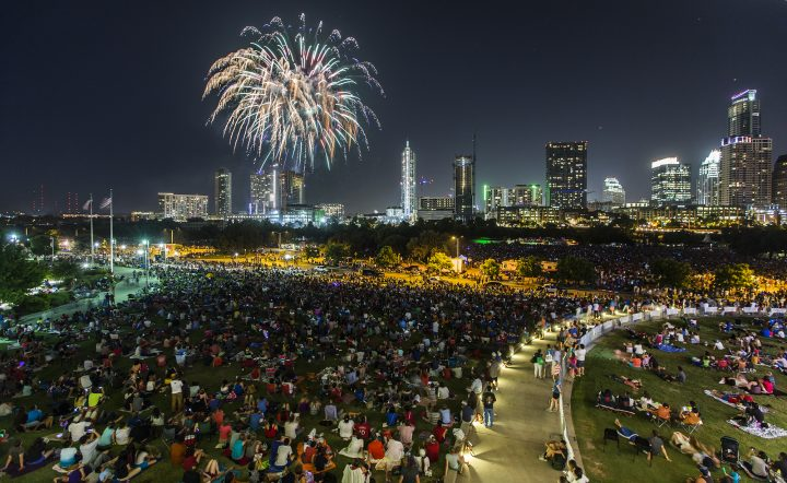 Fireworks and crowds 720x442 Fireworks and crowds Wallpaper Fourth Of July fireworks architecture