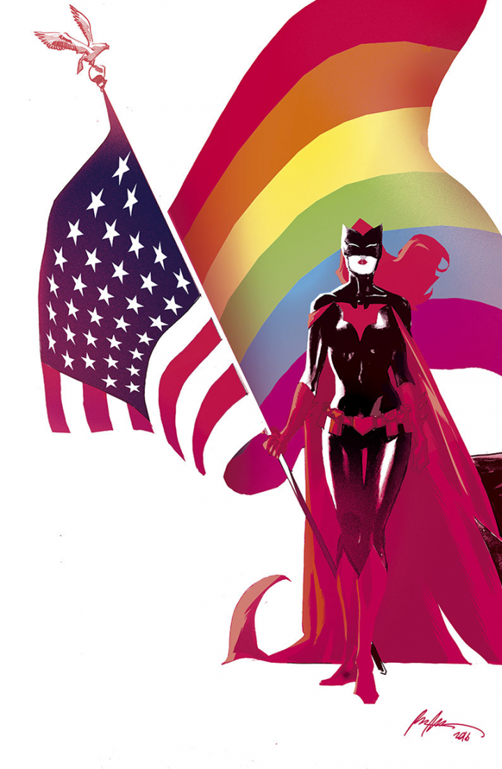 Batwoman with a gay American flag.png