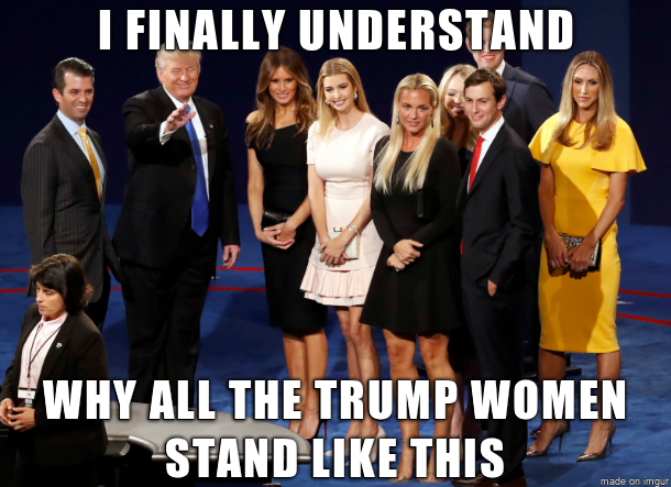 why all the Trump women stand like this.png