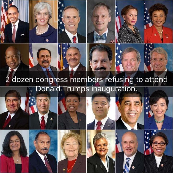 2 dozen congress members refusing to attend Donald Trump's inauguration