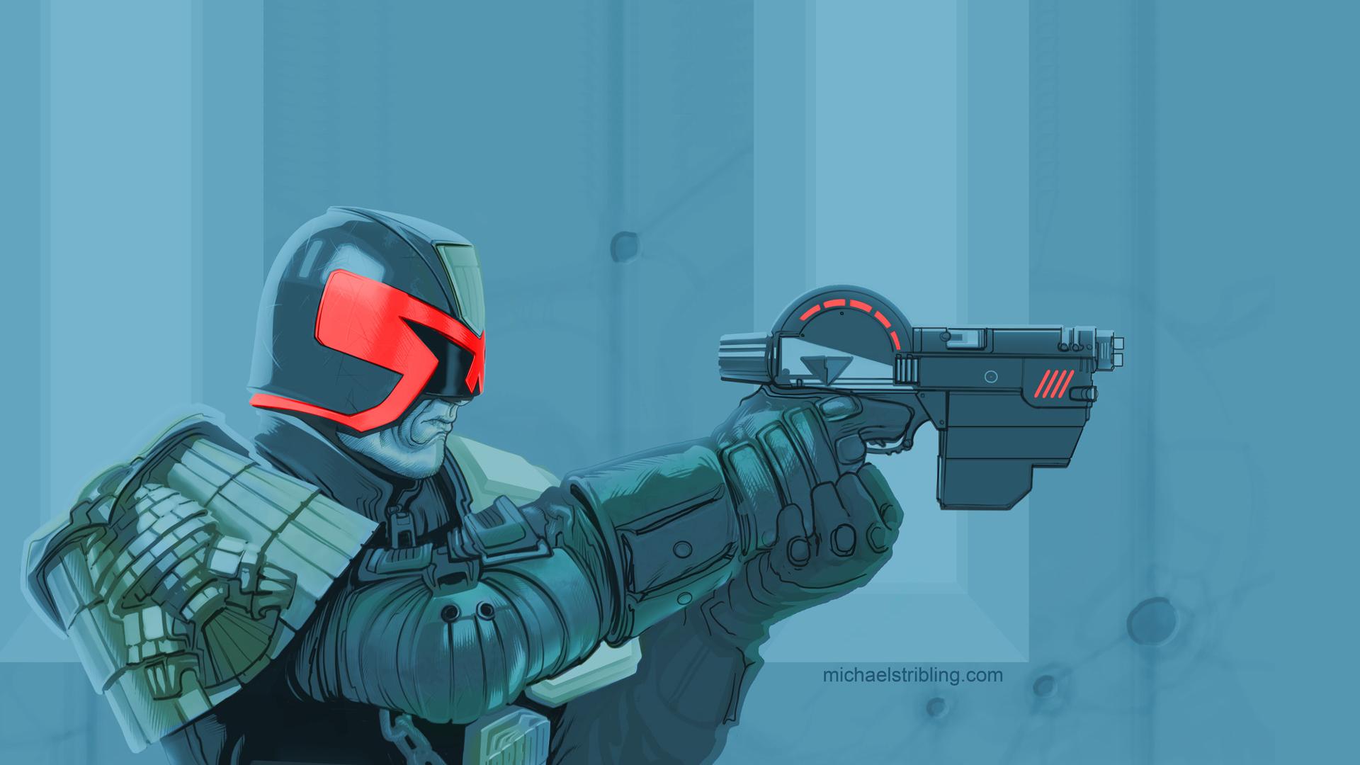 Dredd with a gun.jpg