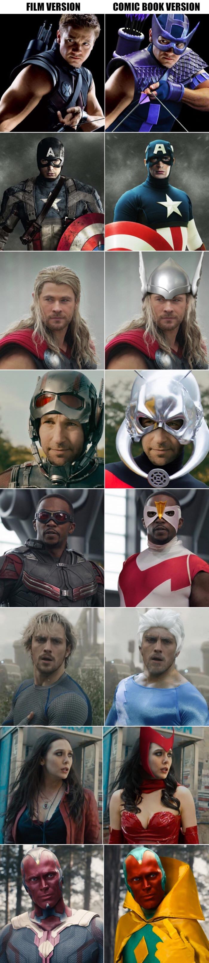 Marvel comic movies vs comic books.jpeg