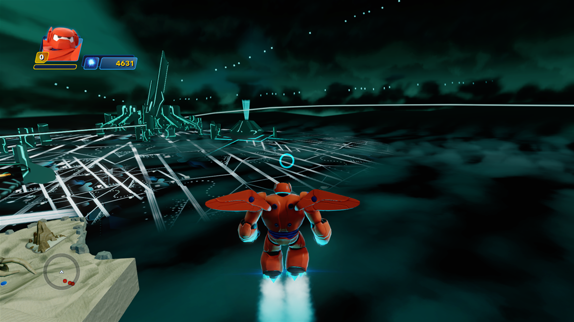 Baymax flying into Tron city.png