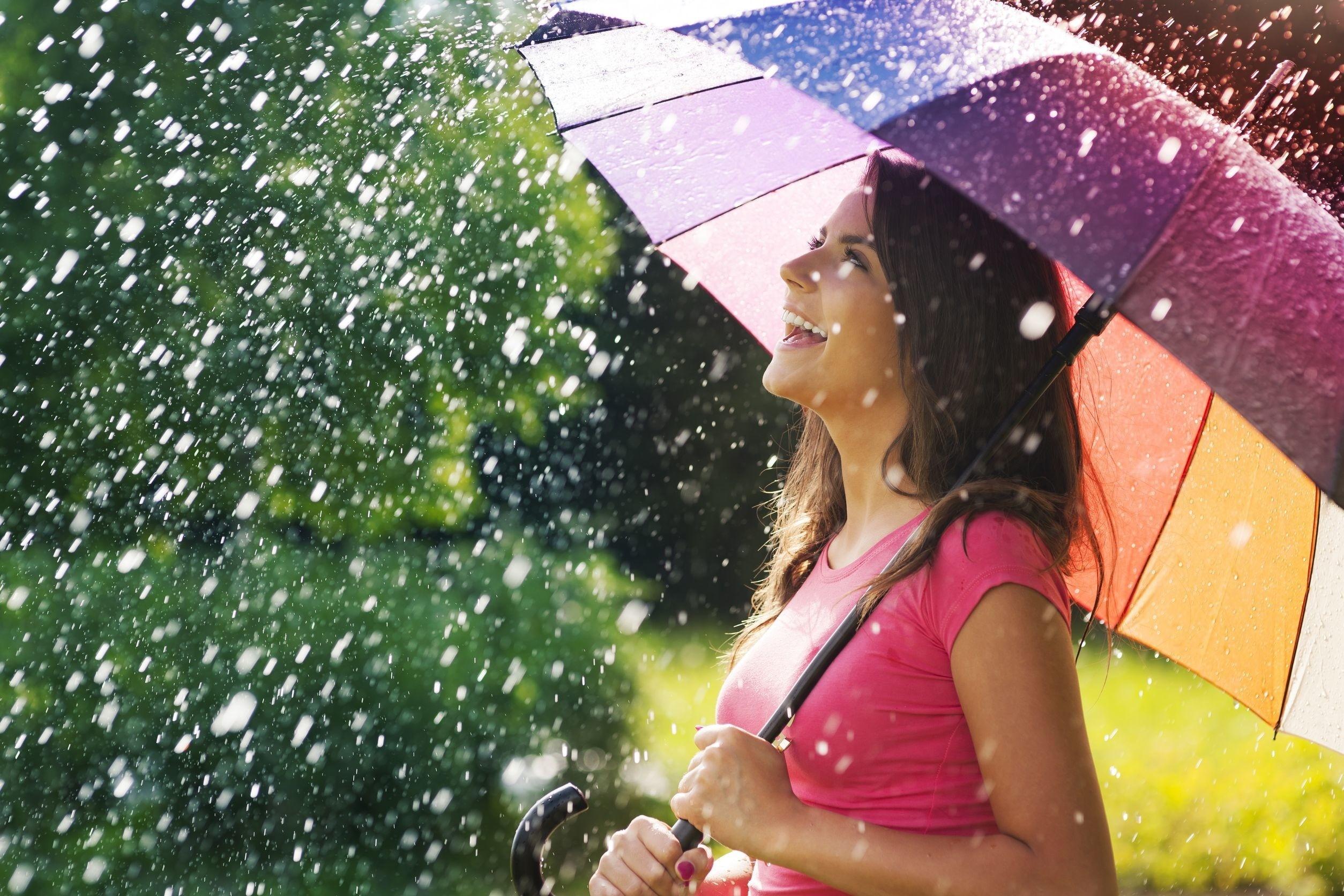 Rainbow Umbrella under Water Spray