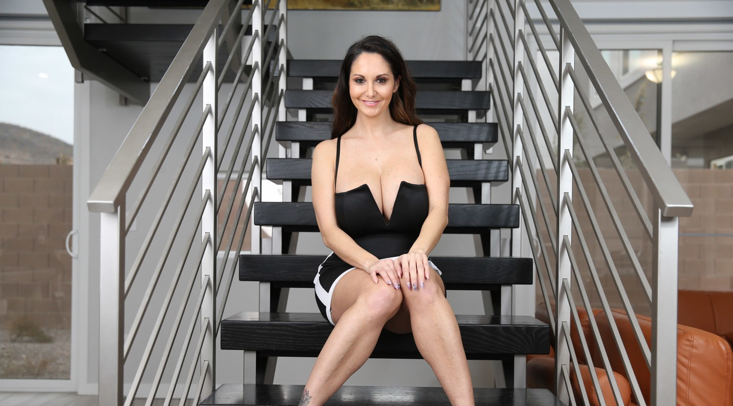 Ava Addams on the stairs