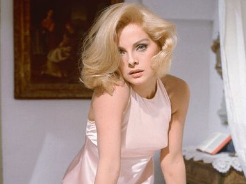 Virna Lisi in a pink top