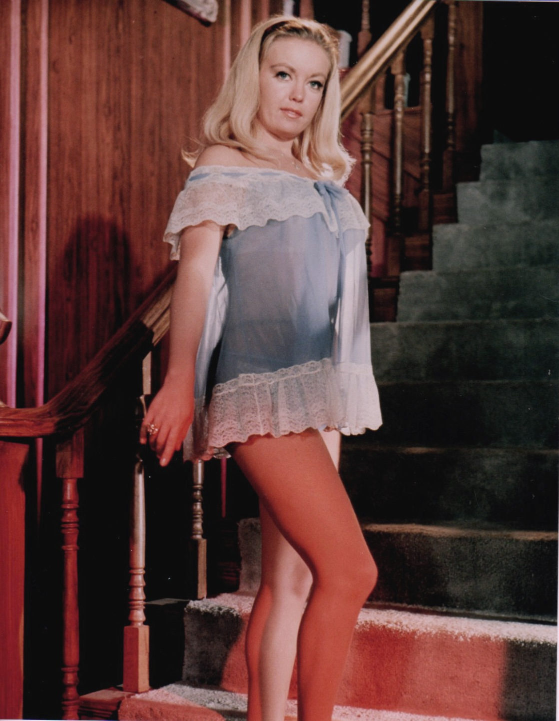 Leslie Parrish in a blue nightie