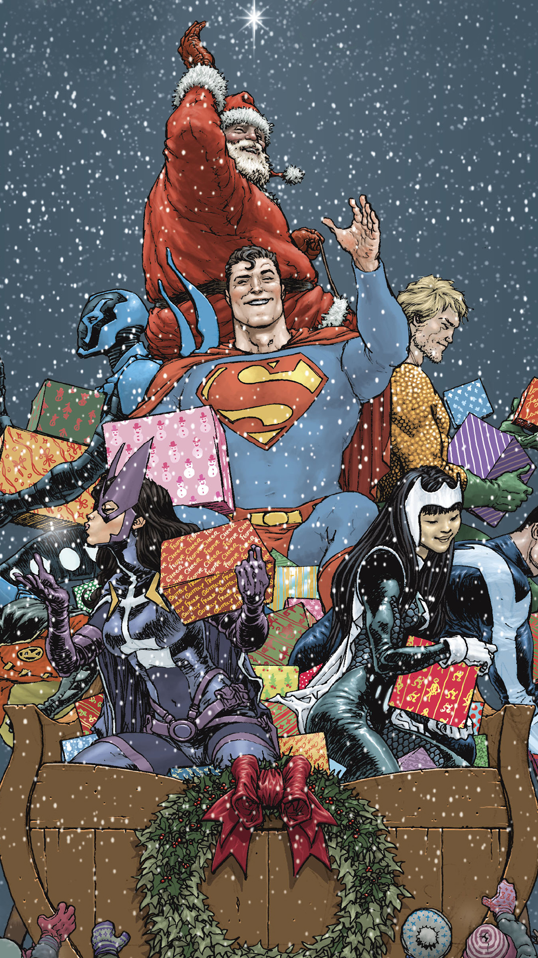Superman and friends bringing the gifts.jpg
