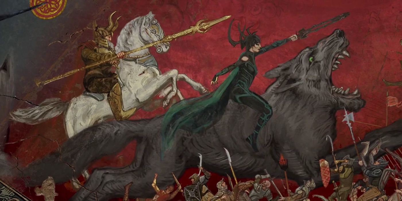 Odin and Hela riding into battle.jpg