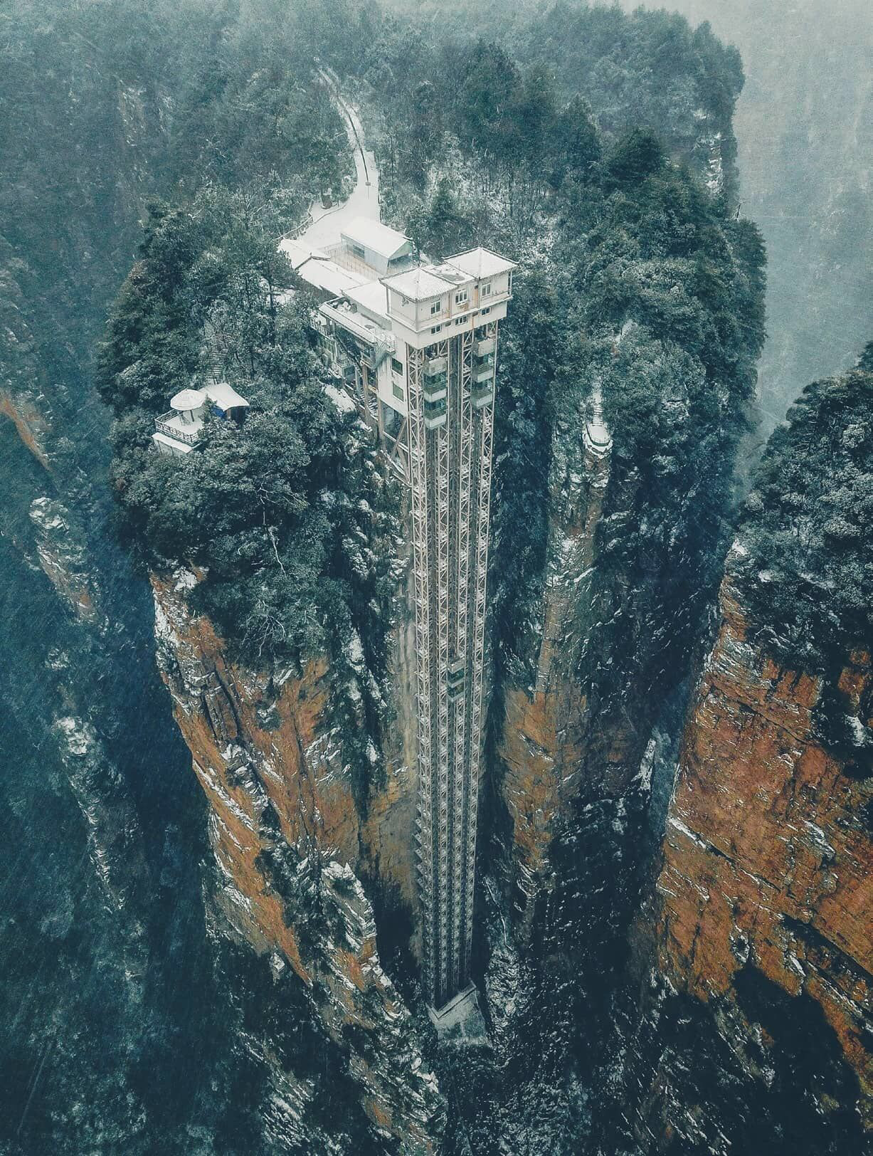 tall elevator in the snow
