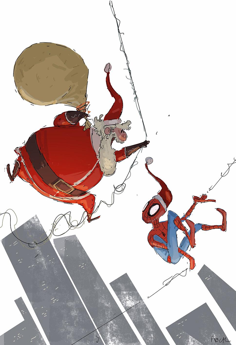 Spider-man and Santa