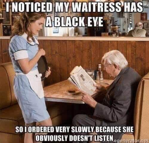 my waitress has a black eye