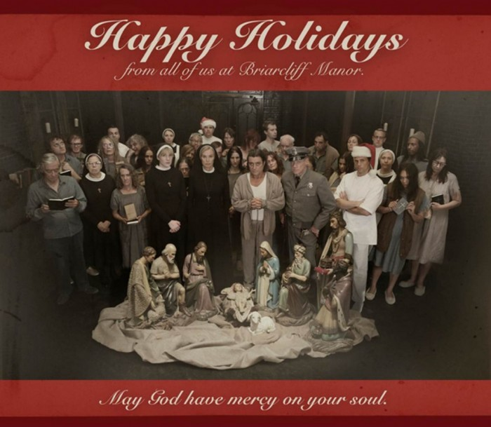 American Horror Story Asylum Happy Holidays 1024x892 700x609 Merry Christmas from American Horror Story Wallpaper Television Christmas American Horror Story
