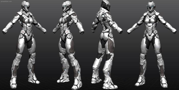 armor sketch01b 700x355 Girl armor women Technology scifi renders illustration Art
