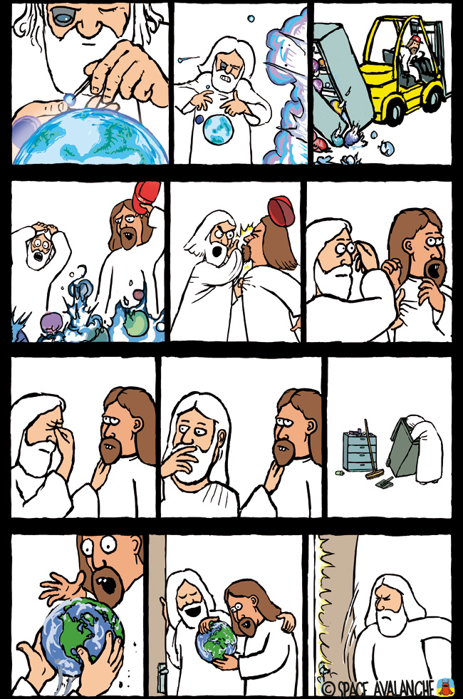 Space Avalanche Jeebus Jebus space avalanche Jesus Comics christianity
