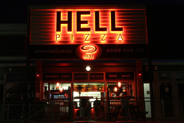 hell front Pizza from Hell Food