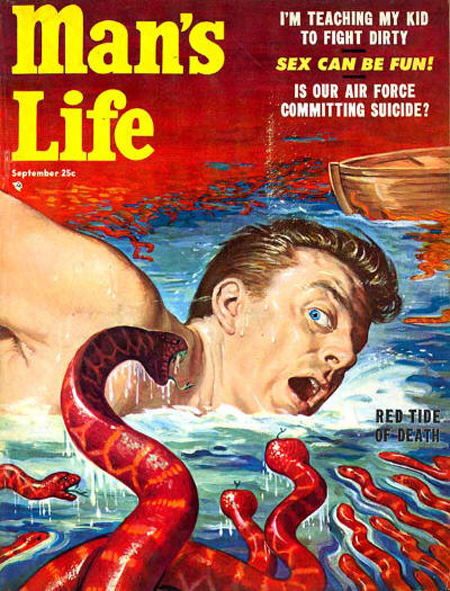 Mans Life Magazine Funny Cover Stories2 Red Tide water snakes mans life