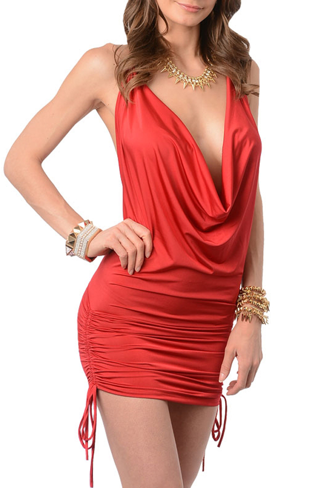 Flaming 2780 Red 3 Red Sexy Plunging Drape Neckline Open Back Club Dress women red not exactly safe for work headless dress