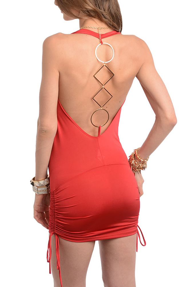 Flaming 2780 Red 4 Red Sexy Plunging Drape Neckline Open Back Club Dress women red not exactly safe for work headless dress