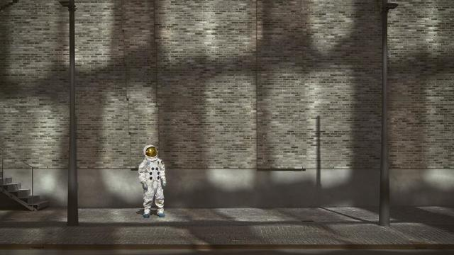 urban Urban Spaceman hanging about in the street astronaut