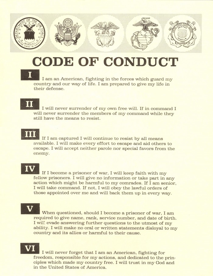 Code of Conduct United States Military 700x906 How we act. Dark Humor