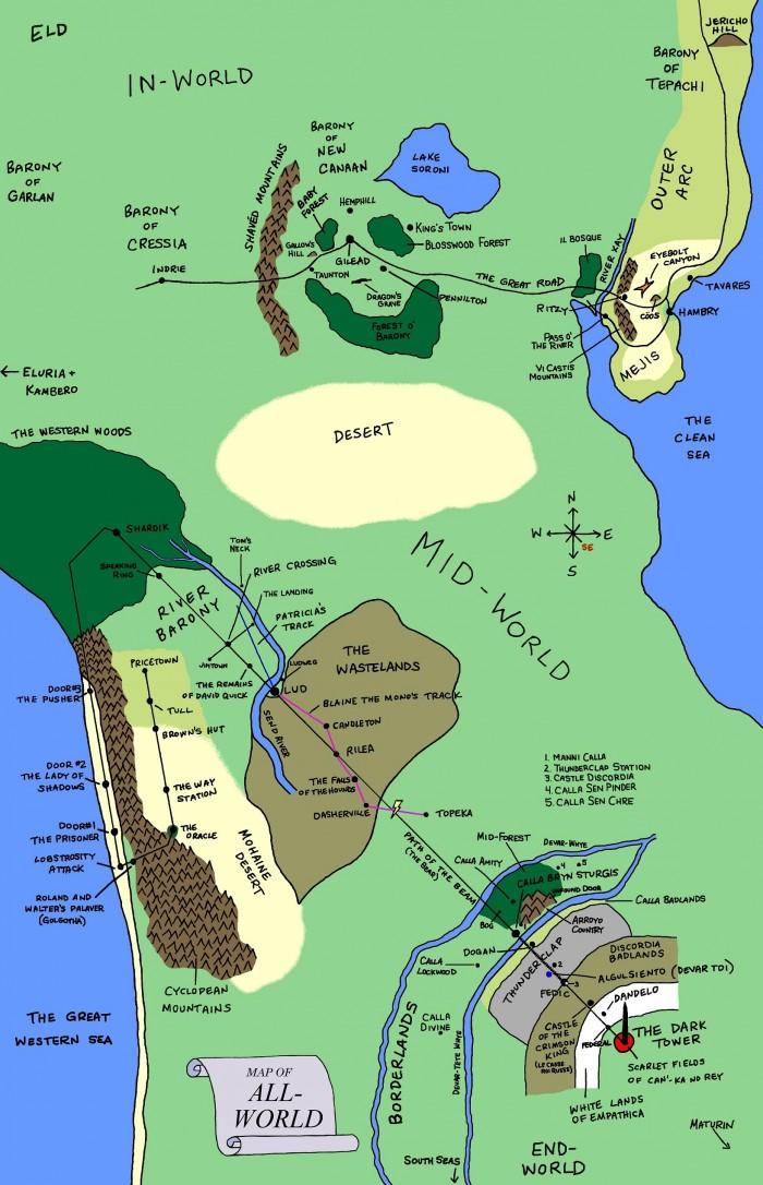 DarkTowerMapFull2 50 700x1086 dark tower map stephen king roland deschain horror fantasy Books