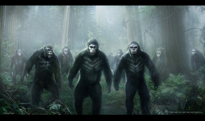 Dawn of the Planet of the Apes Concept Art ASC Hunting Pack 01 700x415 Dawn of the Planet of the Apes concept art Matt Reeves Dawn of the Planet of the Apes concept art Andy Serkis