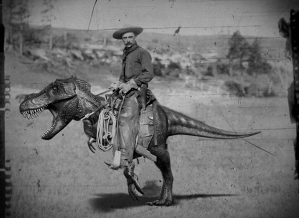 afternoon break 001 08172014 Cowboy wtf vintage photograph interesting dinosaur Cowboy awesome