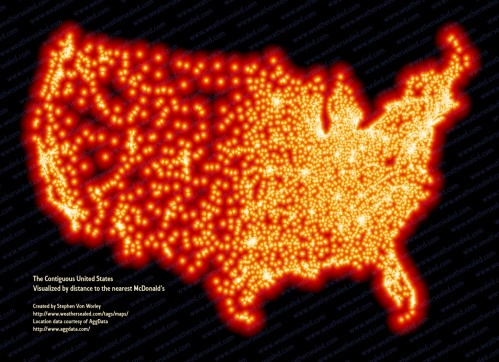 mcd us high 499x362 The contiguous United States, colored by distance to the nearest McDonald's